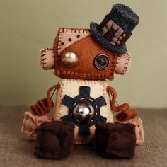 Steampunk Robot Plush Doll with Vintage Buttons Gear by GinnyPenny. OH MY GOSH I LOVE HIM