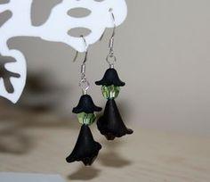 Halloween Witch Earrings Wicked Witch Swarovski Crystal Sterling Silver Ear Wires Seasonal October Black Green Peridot on Etsy, $25.00