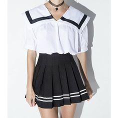 Sailor Skirt ($43) ❤ liked on Polyvore featuring skirts, black, sailor skirt and cotton skirt