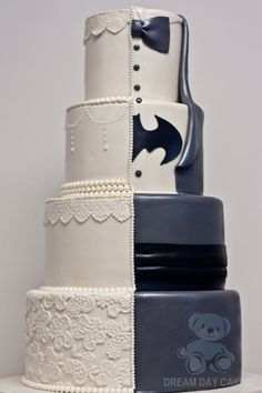 Maybe your husband-to-be is secretly Batman. Change a traditional wedding cake into something unique and quirky by designing one half of it each. You'll end up with a beautiful wedding cake that shares a lot about who you are as individuals and who you are as a couple.
