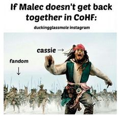 So seriously Cassie. Get your shit together and make Malec happen again. Well unless you want a riot of screaming fangirls on your hand.