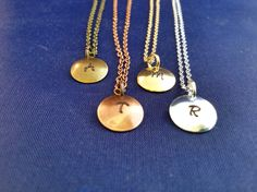 Initial Necklace - Hand Stamped Initial Charm - Domed Initial Charm Necklace by TheVerseWithin on Etsy
