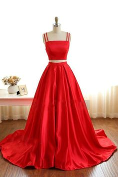 Two Pieces Red Prom Dress 2018, Back To School Dresses, Prom Dresses For Teens, Pageant Dress, Graduation Party Dresses BPD0651