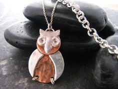 Items similar to Silver and Copper Owl Pendant with two chain choices - Upcycled Recycled Repurposed on Etsy Owl Pendant, Pendant Necklace, Upcycle, Recycling, Beautiful Pictures, Copper, Necklaces, Chain, Silver