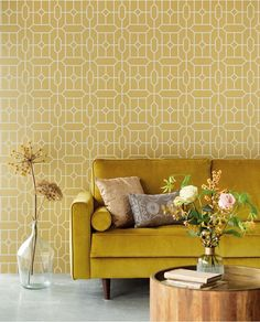Dreamweaver Studios is a national distributor of wallpaper & fabrics offering some of the worlds leading brands such as Eijffinger, Armani Casa, Missoni & Alhambra. Trellis Wallpaper, Wall Wallpaper, Room Color Schemes, Room Colors, Inspiration Wall, Interior Inspiration, Yellow Couch, Cozy Living Rooms, Minimalist Interior