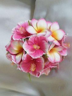 hibiscus bouquet wedding   Frangipani and Hibiscus Bouquet Hot Pink Destination Beach Wedding