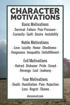 Four Types of Character Motivations: Basic, Noble, Evil, Fear | How to Create…