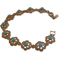 Preowned 1960s Silver Bracelet With Turquoise ($153) ❤ liked on Polyvore featuring jewelry, bracelets, brown, modern bracelets, brown jewelry, silver jewelry, silver bangles, preowned jewelry and flower jewellery
