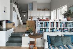 A bright and cozy Scandinavian Cottage Scandinavian Cottage, Sweden House, Room Divider Doors, Herd, Living Room Inspiration, Apartment Living, Ideal Home, Home And Living, Luxury Homes