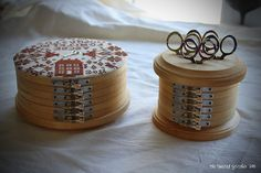 Boxes made from embroidery hoops ~ made by Vonna.  Fabulous!