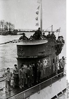 """German submarine U-124 (nickname """"Edelweisseboot"""") was a Type IXB U-boat of Nazi Germany's Kriegsmarine during World War II here seen flying 5 victory pennants. Under command by Korvettenkapitän Johann Mohr she was very succesfull with 46 ships sunk for a total of 219,862 gross register tons (GRT)2 warships of 5,775 tons and 4 ships damaged 30,067 GRT of which 2 were a total loss she was sunk west of Portugal on 2 april 1943 by 2 british warships"""