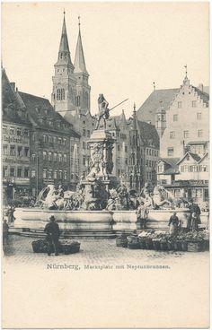 Der Neptunbrunnen auf dem Nürnberger Hauptmarkt. Heute steht er im Stadtpark. Go Eagles, Rothenburg Ob Der Tauber, Antwerp, Old World, Statues, Paris Skyline, Medieval, Beautiful Places, Wanderlust