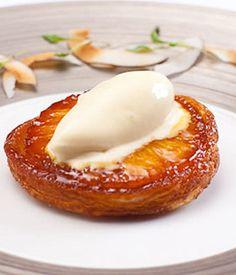 This pineapple tarte Tatin recipe incorporates a tropical twist on the classic French dessert. - Shaun Rankin