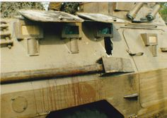 Two Cousins acting as the MAG Gunner team, who were Killed in Action in South Eastern Angola on 14 Feb 1988 during a contact with elements of the 59th FAPLA Brigade during Operation Hooper. On the right hand side where the Groenewald Cousins sat, a large hole was ripped out of the vehicle. It appeared that the Ratel had also been struck by a South African discarding sabot anti-tank round.