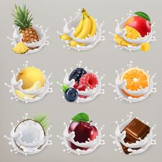 Fruit, Berries and Yogurt Icon Set Design Template - Food Objects Vector Design Template Vector EPS, JPG Image. Download here: https://graphicriver.net/item/fruit-berries-and-yogurt-icon-set/19331482?ref=yinkira