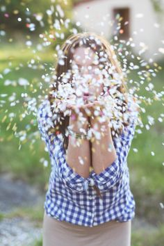 """cute gift idea : send someone a bag of confetti and attach a tag """" because sometimes the best cure for anything is to grab a handful of this stuff, throwing it in the air yelling!!"""" ;) so cute"""