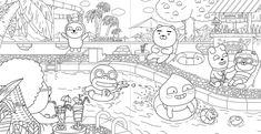 어른도 즐기는 색칠놀이, 카카오프렌즈 스토리 컬러링북 : 네이버 블로그 Coloring Sheets, Coloring Books, Coloring Pages, Kakao Friends, Oil Pastel Art, Korean Art, Rainbow Unicorn, Colored Paper, Printable Worksheets