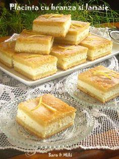 Placinta-cu-branza-si-lamaie-1 Cheese Recipes, Baby Food Recipes, Cookie Recipes, Dessert Recipes, Romanian Desserts, Romanian Food, Romanian Recipes, Lemon Cream Cheese Pie, Italian Cake