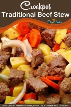 Quick and simple, super tasty beef stew in the slow cooker recipe! With crockpot, skillet-cooked, pressure cooker, & freeze ahead directions! I hope this recipe helps you save some time and stress less. Enjoy! | Slow Cooker Kitchen Slow Cooker Kitchen, Slow Cooker Beef, Slow Cooker Recipes, Crockpot Recipes, Soup Recipes, Easy Beef Stew, Crock Pot, Tasty, Freezer Meals