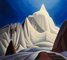 "Lawren Harris, ""Mountains in Snow: Rocky Mountain Paintings VII,"" ca. Oil on canvas. 51 × 58 in. The Thomson Collection © Art Gallery of Ontario ©Family of Lawren S. Canadian Painters, Canadian Artists, Landscape Art, Landscape Paintings, Landscapes, Canada Landscape, Landscape Quilts, Tom Thomson Paintings, Kunsthistorisches Museum"