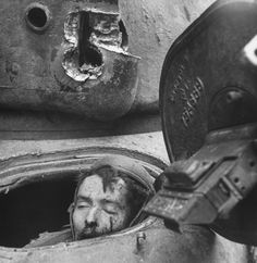 American soldier Julian Patrick from Kentucky, member of the U.S. 3rd Armored Division, killed in action inside his tank, March 6, 1945.