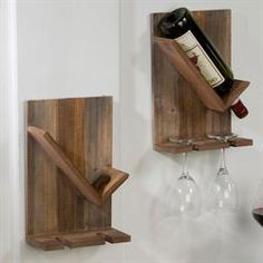 Create a unique display with the Wine Cellar Bottle and Stemware Wall Rack Set. Place your two wine glasses and your bottle of wine into each wall rack. Wine Bottle Holder Wall, Wine Bottle Display, Wine Rack Wall, Wine Wall, Wall Racks, Wine Holders, Pot Racks, Wood Wine Holder, Cork Holder
