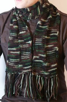 Brown Green White Black Men Knitted Scarf by Knitsome Studio
