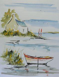 Watercolor Paintings For Beginners, Watercolor Landscape Paintings, Landscape Drawings, Watercolor Sketch, Seascape Paintings, Watercolor Illustration, Watercolour Painting, Painting & Drawing, Art Drawings