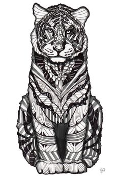 Tiger zentangle