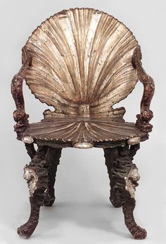 Bon PAIR Of Italian Venetian Grotto (19th Cent) Silver Gilt Arm Chairs With  Carved Seashell Back U0026 Seat With Dolphin Design On Arms (Franco Zefferelli  ...