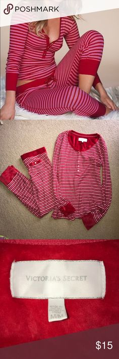 VS Fireside Long Jane PJ Set - Brand New Condition Stay warm and cozy with this beautiful red, pink, & silver striped set of Victoria's Secret Fireside Long Jane Pajamas!! Size M and only worn once!! No stains, holes, and in brand new condition! Victoria's Secret Intimates & Sleepwear Pajamas