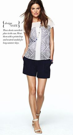 classic pleated shorts pair perfectly with a printed top and neutral sandals for long summer days
