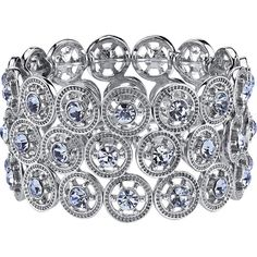 1928 Silver-Tone and Blue Wide Stretch Bracelet ($45) ❤ liked on Polyvore featuring jewelry, bracelets, wide bangle, blue bangles, stretch jewelry, nautical jewelry and silver tone jewelry
