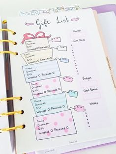 Cute Printable Page - Gift List - Gift List Tracker - Gift Planner - Christmas Gift List - Birthday Gift - All Occasion - Budget Plan - Bullet Journal Community Board - Holiday Bullet Journal Inspo, Planner Bullet Journal, Bullet Journal Writing, Bullet Journal Layout, Bullet Journal Ideas Pages, Journal Pages, Bullet Journal Gift List, Bullet Journals, Birthday Bullet Journal