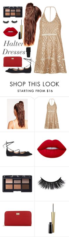 """""""Brighter Power"""" by reganjustine909 ❤ liked on Polyvore featuring Missguided, River Island, Salvatore Ferragamo, Lime Crime, NARS Cosmetics, Dolce&Gabbana, MAC Cosmetics, Gucci and halterdresses"""