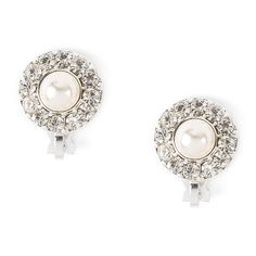 Pearl and Pavé Rhinestone Circles Clip On Stud Earrings
