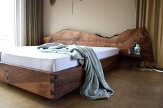 © holzstangl swisshandcrafted 2018 Rustic Bedroom Design, Small Bedroom Designs, Master Bedroom Design, Bed Frame Design, Bed Design, Wooden Bed Frames, Wood Beds, Modern Prefab Homes, Homemade Furniture