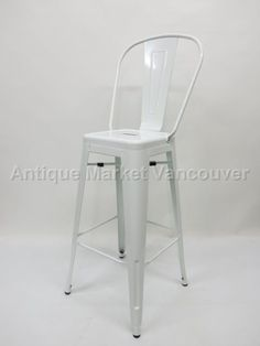 White Tolix Style Bar Stool with Back