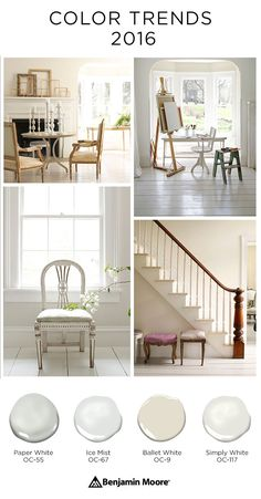 Here is a small sample of the neutral, timeless paint colors in the Benjamin Moore Color Trends 2016 palette. I'm really liking Ballet White as the living room color in my house. Room Paint Colors, Interior Paint Colors, Paint Colors For Living Room, Paint Colors For Home, House Colors, Interior Design, Benjamin Moore Colors, Ballet White Benjamin Moore, Favorite Paint Colors