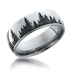 Tree Band - This ring is perfect for the nature lover! Pine trees are etched all the way around the band.