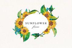 Fruit Illustration, Watercolor Illustration, Watercolor Sunflower, Watercolor Flowers, Oval Frame, Frame Wreath, Wedding Frames, Flower Frame, Botanical Prints
