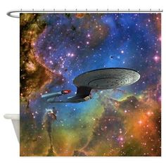 STARTREK 1701D EAGLE NEBULA Shower Curtain on CafePress.com // great now i'm considering dropping $60 on a shower curtain