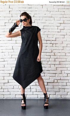 SALE Black Asymmetric Dress/Plus Size Loose Tunic/Extravagant