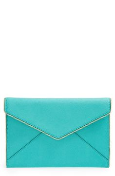 Love this bright turquoise Rebecca Minkoff clutch.