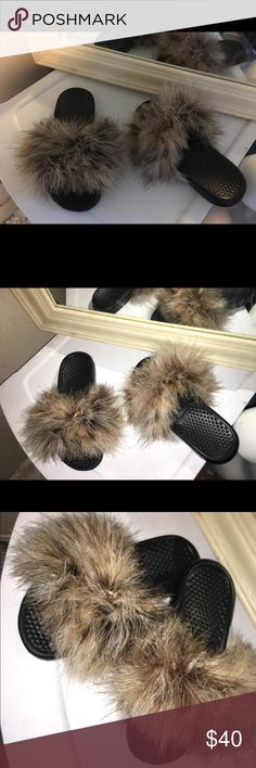 Tan Mix Nike Fur Slides Nike Fur Slides. Tan Mix Fluffy Fur. Size 7. Custom made. Brand new. Will come with original Nike tags and shoe box. Nike Shoes Sandals