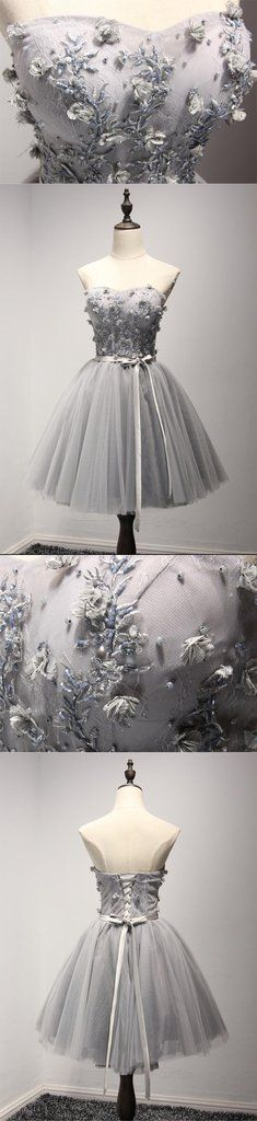 Grey Lace Tulle Short Sweetheart Homecoming Prom Dresses, Short Party Prom Dresses, Graduation Dresses