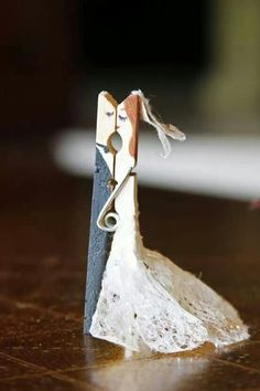 Bride and groom clothespin :) super cute