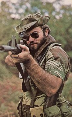 Jakkals Roodt - a member of the SAP on COIN duty detached to Rhodesia. Shown here in 1981 at age serving with Koevoet in Angola.