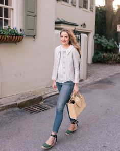 Gal Meets Glam GMG Now Daily Look 2-3-18 Tory Burch jacket, Isabel Marant top, Citizens of Humanity jeans, Castaner Espadrilles, Couture des Isles bag