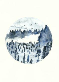 Blue Forest Art Print Watercolor Painting Misty Landscape